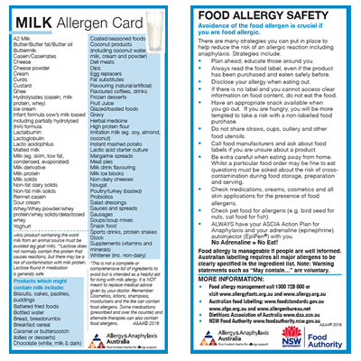 Cow's milk Allergen Card