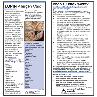 LUPIN Allergen Card