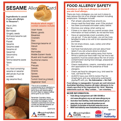 Sesame Allergen Card