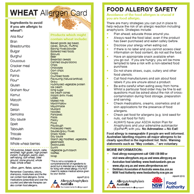 Wheat Allergen Card